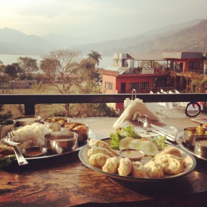 Our meal of Thali and Mo-Mo after returning from our hike!
